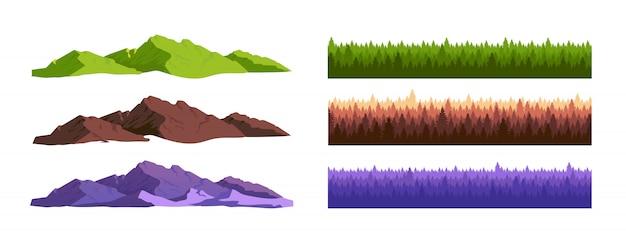 Zestaw obiektów kreskówek gór i lasów iglastych
