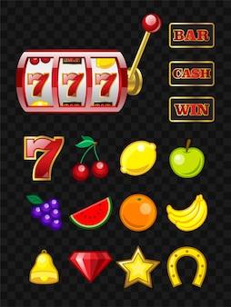 Zestaw obiektów maszyny do gier - wektor realistyczne na białym tle clipart. gniazdo 777. bar, gotówka, znaki wygranej. banan, wiśnia, cytryna, winogrono, arbuz, jabłko, pomarańcza, kryształ, dzwonek, podkowa, gwiazda