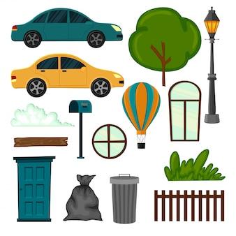 Zestaw obiektów miejskich dla swojego projektu na białym tle. styl kreskówkowy. ilustracja.