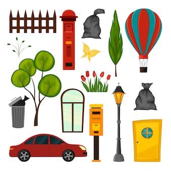 Zestaw obiektów miejskich do projektowania stylu cartoon.