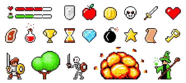 Zestaw obiektów minimalistycznych pikseli sztuki wektorowej na białym tle. gra pikselowa. 8-bitowa notacja paska gier interfejsu użytkownika