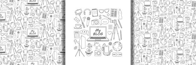 Zestaw obiektów my blog i bezszwowe wzory
