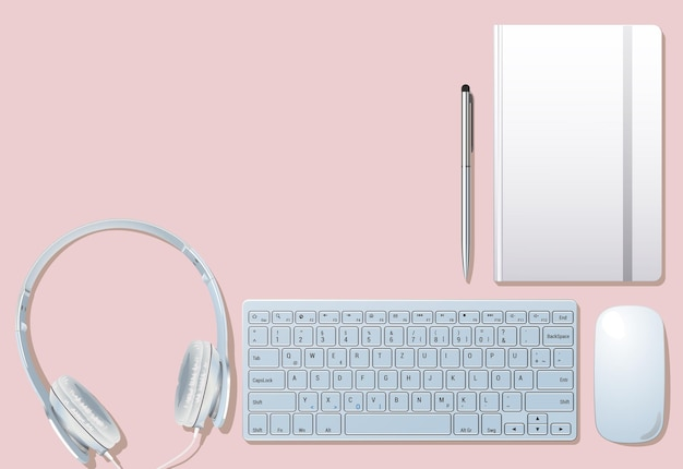 Zestaw obiektów na różowym tle. kursor komputerowy z klawiaturą. słuchawki z długopisem na górze. laptop kłamie. ilustracja