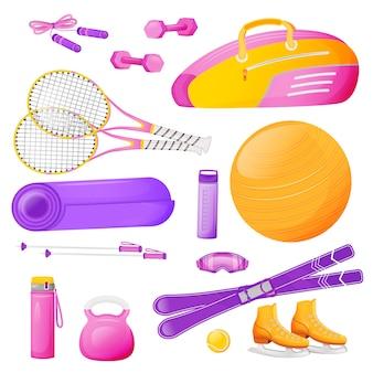 Zestaw obiektów płaskich kolorów kobiet aerobik. różowa torba na rakietę tenisową. trening fitness. skakanka. sprzęt sportowy ilustracje 2d kreskówka na białym tle na białym tle