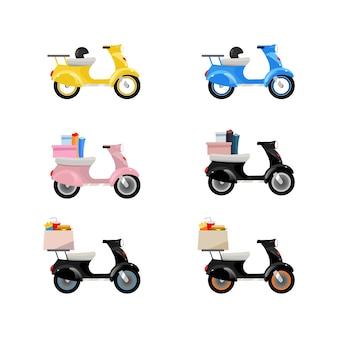 Zestaw obiektów płaskich kolorów motocykli dostawy. skutery dostawy z towarami. transport kurierski. usługa przewozowa. kreskówka na białym tle