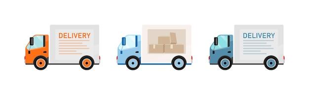 Zestaw obiektów płaskich kolorów samochodów dostawczych. wysyłka towarów. transport. usługi pocztowe i dostawy żywności. samochód towarowy na białym tle kreskówka