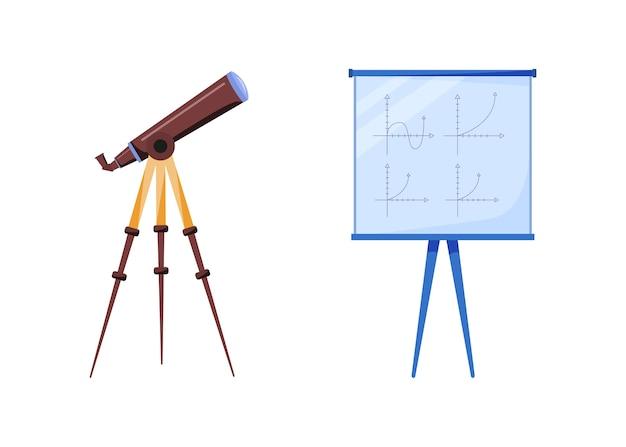 Zestaw obiektów płaskich kolorów sprzętu astrologicznego. teleskop do obserwacji. tablica z geometrią. badania astronomiczne ilustracja kreskówka na białym tle do projektowania grafiki internetowej i kolekcji animacji