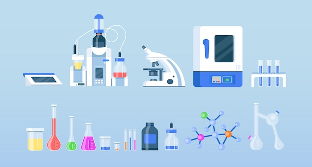 Zestaw obiektów płaskich kolorów sprzętu laboratoryjnego