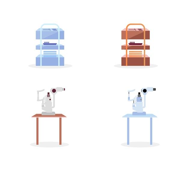 Zestaw obiektów płaskich kolorów sprzętu medycznego. urządzenia do badania zdrowia. lekarz wizytujący. wnętrze szpitala kreskówka na białym tle