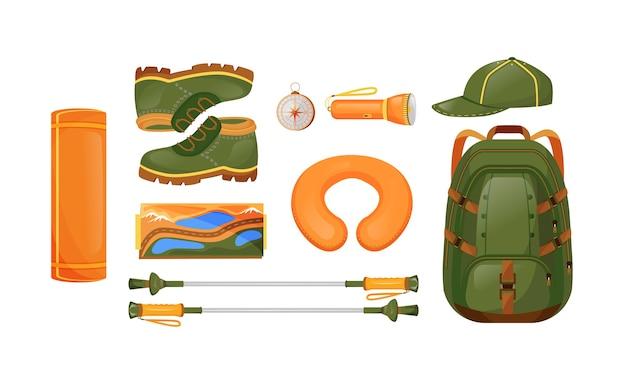 Zestaw obiektów płaskich kolorów sprzętu turystycznego. kompas i mapa. worki marynarskie, plecak, niezbędne akcesoria podróżnicze. sprzęt trekkingowy 2d ilustracja kreskówka na białym tle na białym tle