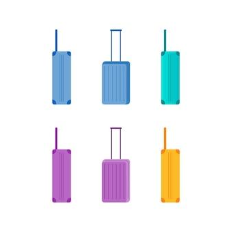 Zestaw obiektów płaskiego koloru kolorowych walizek. widok z boku iz przodu bagażu do podróży. bagaż podróżny na białym tle kreskówka
