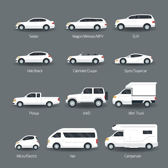Zestaw obiektów typu i modelu samochodu