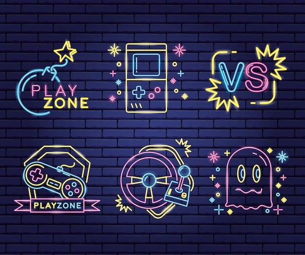 Zestaw obiektów związanych z grami wideo w stylu neonowym i lienalnym