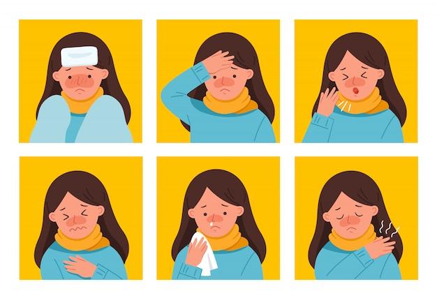 Zestaw objawy kobiety zachorują. ma kaszel, zmęczenie i bóle w klatce piersiowej. wirus grypy 2019-ncov. zdrowie i medycyna. ilustracja.
