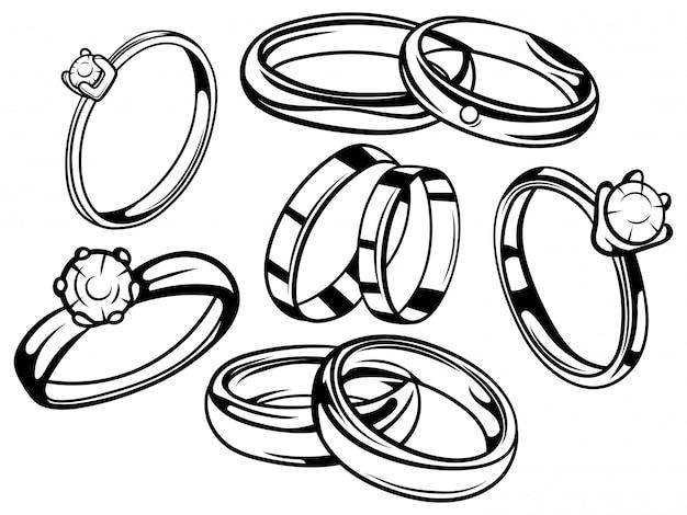 Zestaw obrączek ślubnych. kolekcja pierścionków zaręczynowych. symbol miłości.