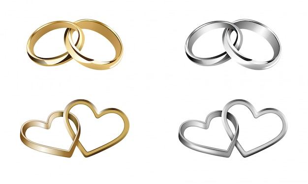 Zestaw obrączek ślubnych. pierścienie w kształcie serca i okrągłe