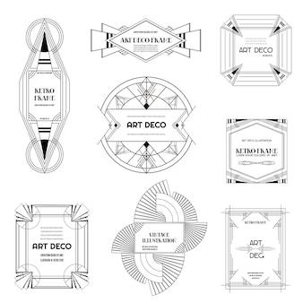 Zestaw obramowań i ramek w stylu art deco. geometryczny szablon w stylu gatsby 1920 do projektowania, kartki ślubnej, okładki, dekoracji banera. ilustracja wektorowa eps 10