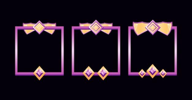 Zestaw obramowania ramki fantasy w kolorze fioletowym z oceną elementów aktywów interfejsu gry
