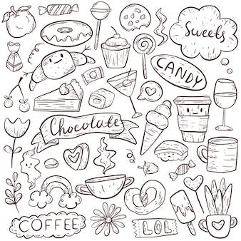 Zestaw obrazów bazgroły. śliczne śmieszne ikony na temat jedzenia i picia, słodyczy i pysznego.