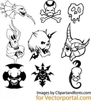 Zestaw obrazów czaszki vector clip art