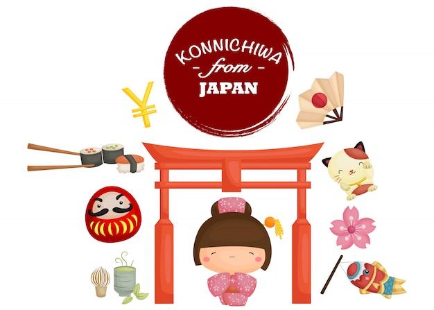 Zestaw obrazów japonii tradycji
