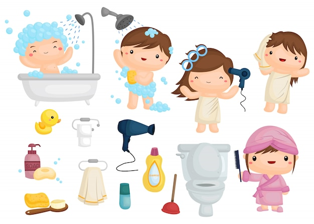 Zestaw obrazów kąpieli