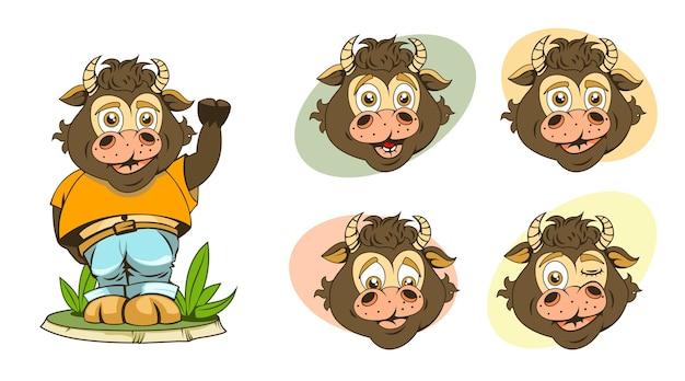Zestaw obrazów kreskówek dla dzieci byki z różnymi wyrazami twarzy i bardzo zabawne.