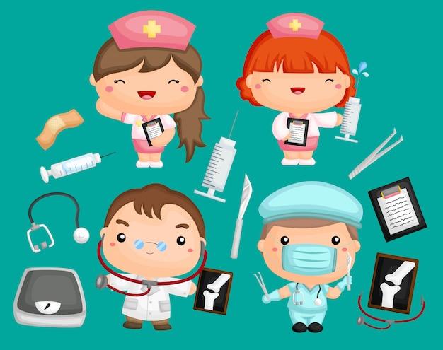 Zestaw obrazów lekarzy i pielęgniarek ze sprzętem medycznym