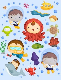 Zestaw obrazów okrętów podwodnych