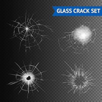 Zestaw obrazów pęknięć szklanych