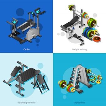 Zestaw obrazów sprzętu fitness