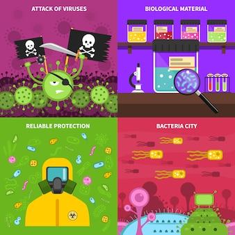 Zestaw obrazów wektorowych tło mikrobiologii