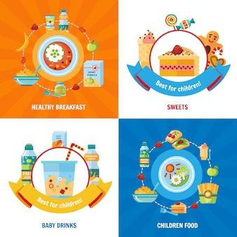Zestaw obrazów wektorowych żywności dla niemowląt