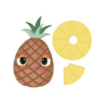 Zestaw obrazów z jasnym ananasem z kreskówek