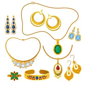 Zestaw obrazów złotej biżuterii. ilustracja.