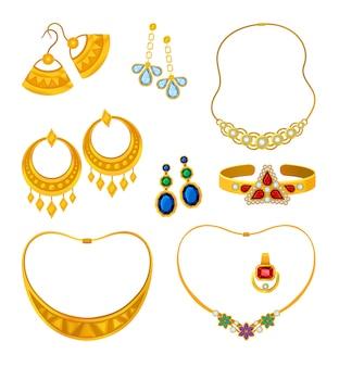 Zestaw obrazów złotej biżuterii z kamieniami szlachetnymi. ilustracja.