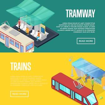 Zestaw oczekujących izometryczny 3d banner web zestaw stacji tramwajowej