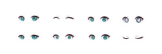 Zestaw oczu dziewczyny anime manga