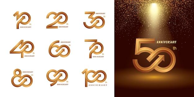 Zestaw od 10 do 100 rocznicowych projektów logotypów, lat świętuj logo rocznicowe