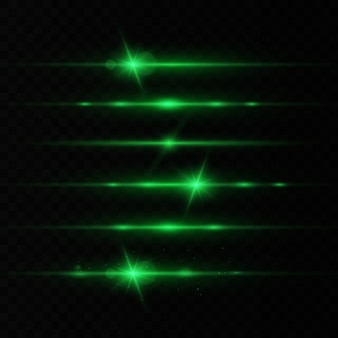 Zestaw odblasków poziomych soczewek, wiązki laserowe, piękne rozbłyski światła. promienie światła. blask linii na przezroczystym tle.