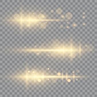 Zestaw odblasków poziomych, wiązki lasera, rozbłysk światła.
