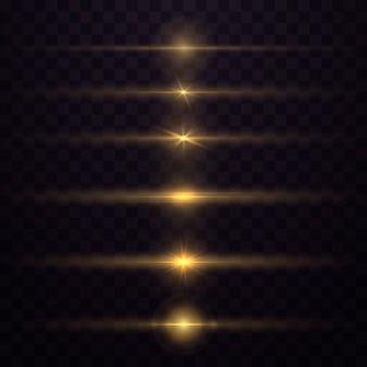 Zestaw odblasków w kolorze żółtym do poziomych soczewek. wybucha świecące światło. świetliste, musujące linie.