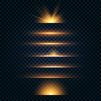 Zestaw odblasków w kolorze żółtym, wiązki laserowe, poziome promienie światła.