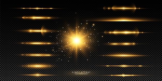 Zestaw odblasków w żółtych poziomych soczewkach. wiązki laserowe, poziome promienie światła. zestaw efektów świetlnych z przezroczystym blaskiem, eksplozja, połysk, iskra, rozbłysk słoneczny.