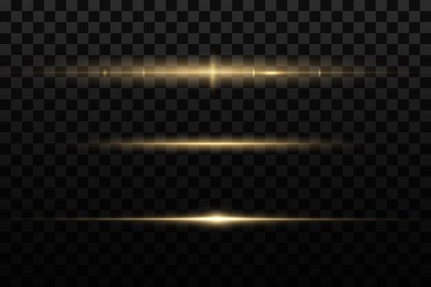 Zestaw odblasków w żółtych poziomych soczewkach. wiązki laserowe, poziome promienie światła.