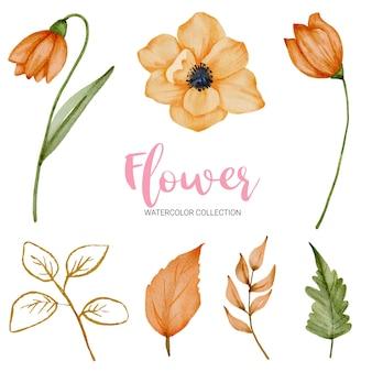 Zestaw oddzielnych części i łączą się w piękny bukiet kwiatów w stylu przypominającym akwarele