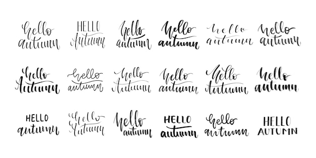 Zestaw odizolowanych kaligrafii odręcznej hello autumn