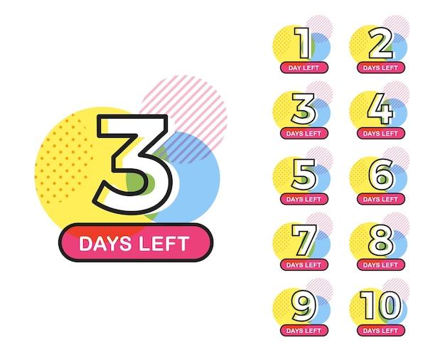 Zestaw odliczania liczby dni do końca