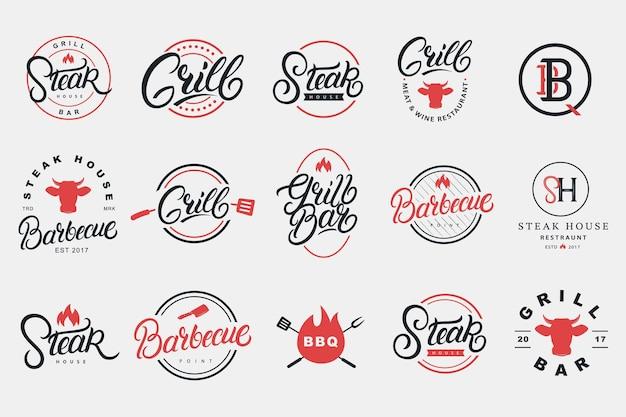 Zestaw odręczny napis logo, odznaka, etykieta, znak, godło dla restauracji z grillem i grillem, kawiarni, sklepu spożywczego, steak house. kaligrafia nowoczesna. vintage typografia. ilustracji wektorowych.