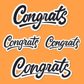 Zestaw odręcznych napisów gratulacje.